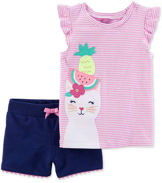 Carter's Baby Girls 2-Pc. Graphic-Print Top & Shorts Set