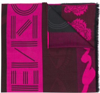 Kenzo frayed tiger scarf