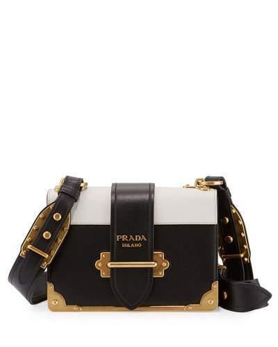 pradaPrada Cahier Notebook Shoulder Bag, Black/White (Nero+Bianco)