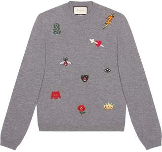 Gucci Embroidered wool knit sweater