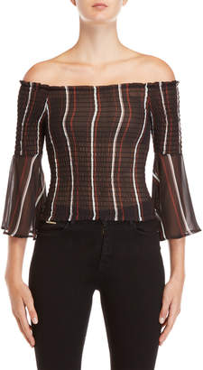 Almost Famous Stripe Smocked Bell Sleeve Top