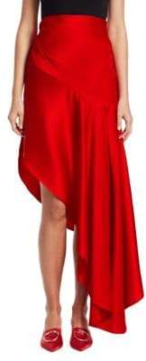 Monse Asymmetrical Satin Midi Skirt