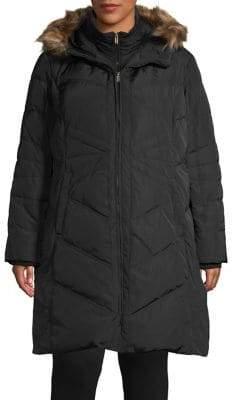 London Fog Plus Faux Fur Trimmed Down Coat