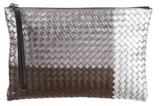 Bottega Veneta Metallic Intrecciato Wristlet Silver Metallic Intrecciato Wristlet