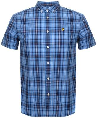 Short Sleeved Checked Shirt Blue