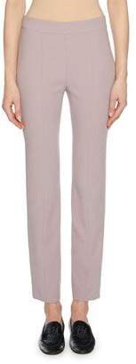 Giorgio Armani Straight-Leg Wool Crepe Crop Pants with Back Zip