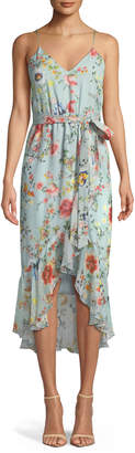 Alice + Olivia Mable Mock-Wrap Floral-Print Silk Chiffon Dress