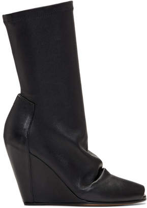 Rick Owens Black Open Toe Sock Wedge Boots