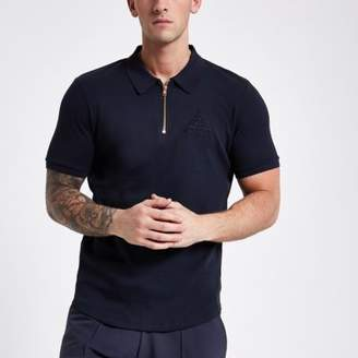 River Island Mens Navy Concept muscle fit zip front polo shirt