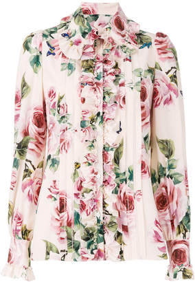 Dolce & Gabbana ruffled rose printed blouse
