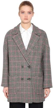 RED Valentino Double Breasted Wool Houndstooth Coat