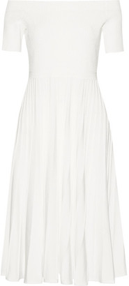 Jason Wu - Off-the-shoulder Ribbed Stretch-knit Dress - White $1,195 thestylecure.com