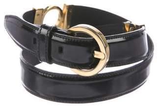 Salvatore Ferragamo Patent Leather Buckle Belt