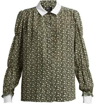 A.P.C. Clark Printed Silk Crepe De Chine Blouse - Womens - Green Multi