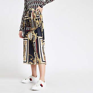 River Island Navy chain print pleated midi skirt