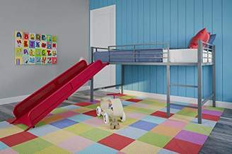 DHP Junior Twin Metal Loft Bed with Slide