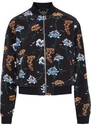 Markus Lupfer Charlotte Floral-Print Silk Bomber Jacket