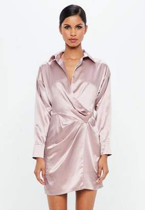Missguided Mauve Satin Wrap Mini Dress