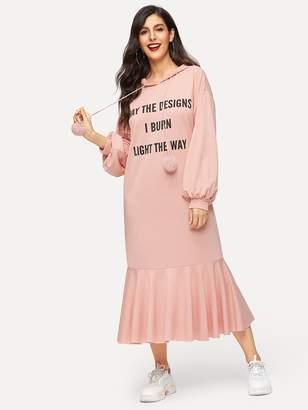 Shein Pom Pom Drawstring Slogan Print Flounce Hoodie Dress