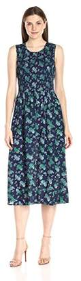 Lark & Ro Women's Sleeveless Smocked Midi Dress