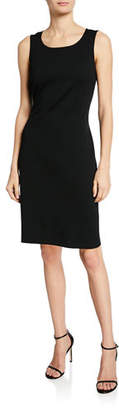 St. John Milano-Knit Scoop-Neck Sheath Dress