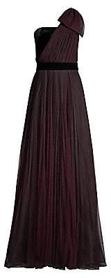 Shoshanna Women's Jenise Polka Dot Asymmetrical Gown - Size 0