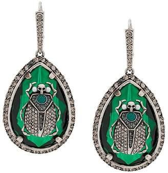 Alexander McQueen teardrop crystal scarab earrings