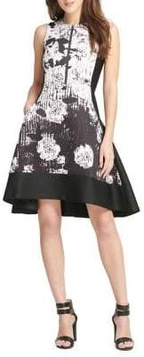 DKNY Sleeveless Printed Fit-And-Flare Dress