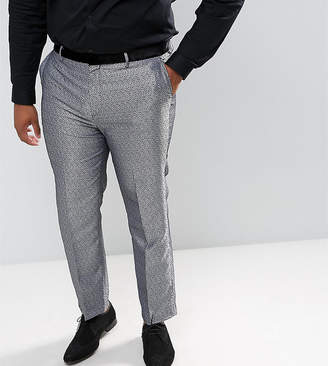 Asos DESIGN Plus slim tuxedo suit pants in silver leopard print