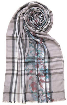 Lord & Taylor Plaid Floral Scarf