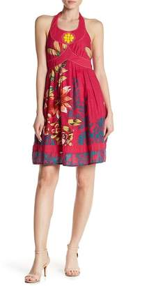 24/7 Comfort Floral Scoop Neck Halter Dress