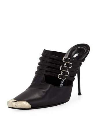 Alexander Wang Minna Strappy High-Heel Metal-Toe Mules