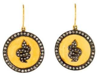14K Diamond Snake Disc Drop Earrings
