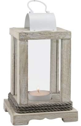 Stonebriar Weathered White Wood and Metal Lantern
