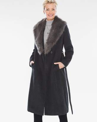 Chico's Chicos Belted Faux-Fur Trench Coat