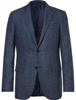 Ermenegildo Zegna Blue Slub Wool, Silk and Linen-Blend Blazer