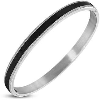 NRG 316L Jewelry Stainless Steel 2 Color Sandblasted Pinstriped Round Hinged Bangle Length: 8""