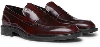 Tod's Burnished-Leather Penny Loafers - Burgundy