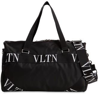 Valentino Small Vltn Logo Nylon Boston Bag