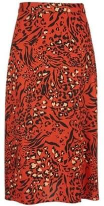 Dorothy Perkins Womens Petite Leopard Print Midi Skirt