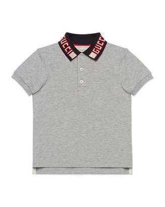 Gucci Short-Sleeve Polo w/ Knit Logo Collar, Size 4-12