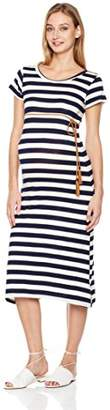 Abie Maternity Stretch Bodycon Maxi Dress with Belt