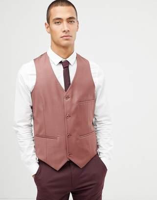 Asos DESIGN Wedding Vest In Light Burgundy 100% Wool