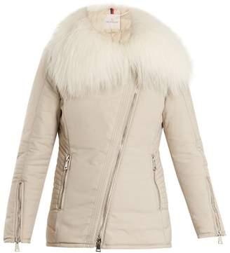 Moncler Choisia Fur Trimmed Down Jacket - Womens - Beige