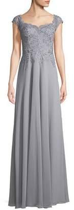 La Femme Crepe Chiffon Scoop-Neck Embellished Gown