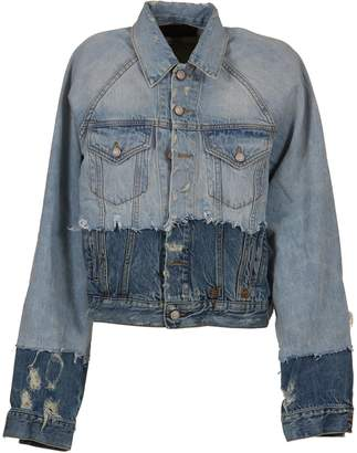 R 13 Contrast Distressed Jacket