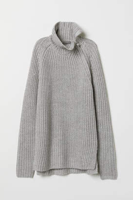 H&M Turtleneck Sweater with Zip - Gray