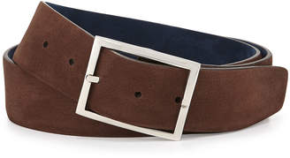 Simonnot Godard Reversible Suede Belt, Brown/Navy