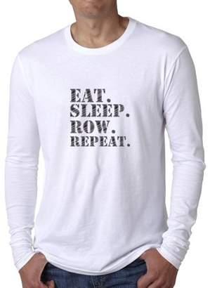 Hollywood Thread Trendy Eat Sleep Row Repeat Rowing Crew Team Men's Long Sleeve T-Shirt