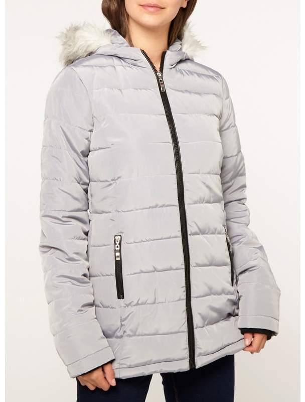 Tall Grey Pebble Padded Coat